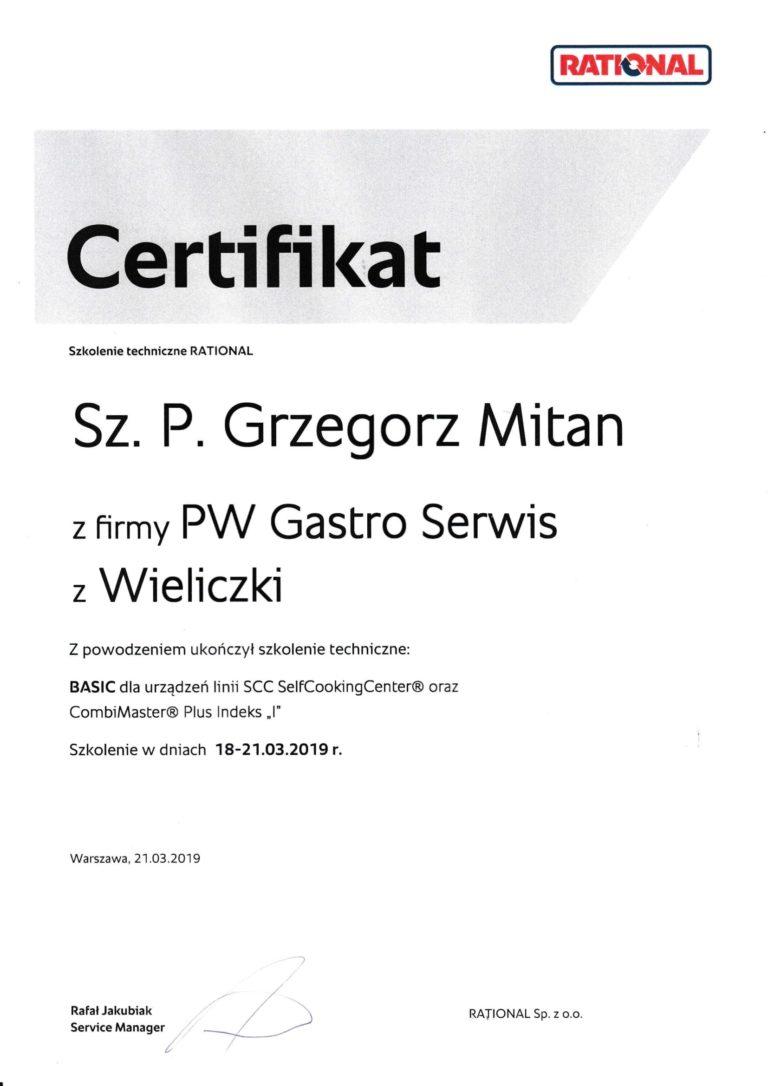 Rational Dyplom dla pracownika z firmy PW Gastro Serwis Stanisław Polański