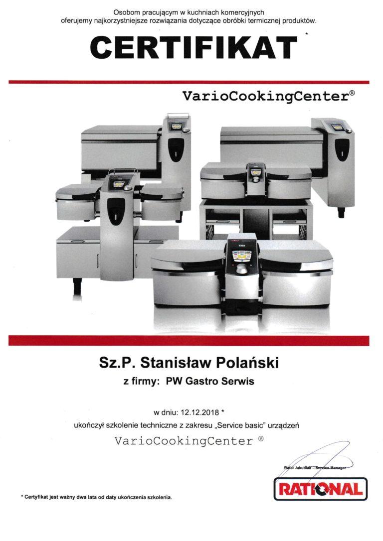 VCC certyfikat dla Stanisław Polański z firmy PW Gastro Serwis Wieliczka - Kraków