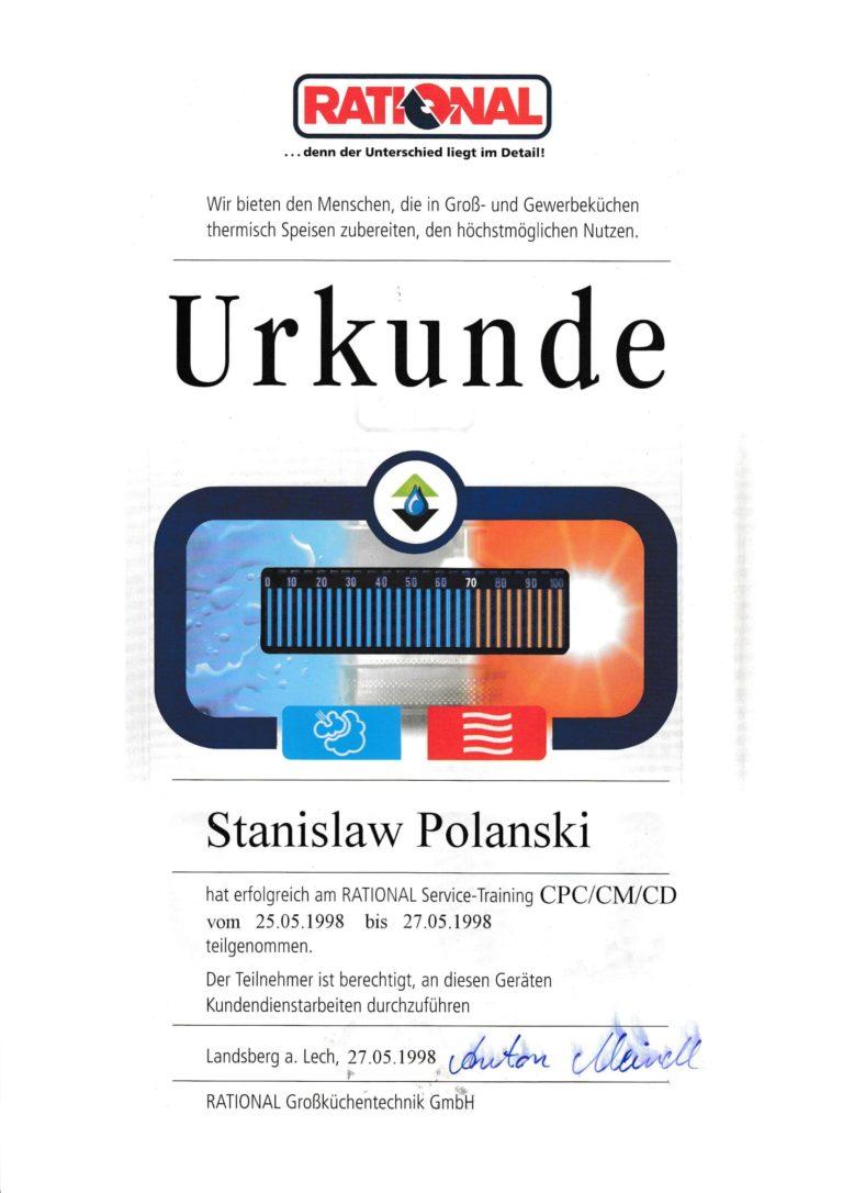 Rational certyfikat dla Stanisław Polański z firmy Gastro Serwis Wieliczka - Kraków