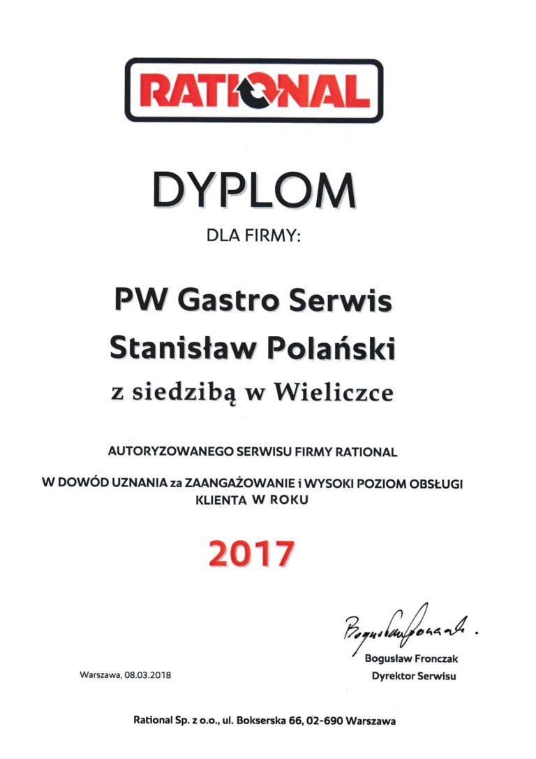 Rational Dyplom dla PW Gastro Serwis Stanisław Polański